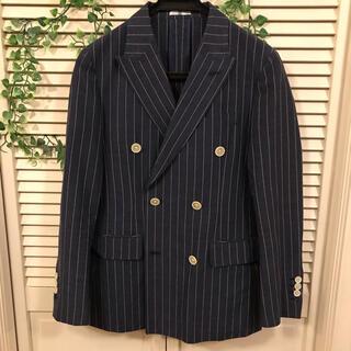 スーツカンパニー(THE SUIT COMPANY)のスーツセレクト  春夏麻 ダブルジャケット ネイビーストライプ  Y4 165(テーラードジャケット)