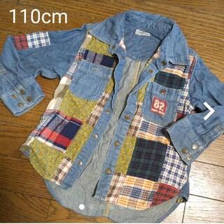 パプ(papp)のpapp  ツギハギデニム 長袖シャツ  110cm(Tシャツ/カットソー)