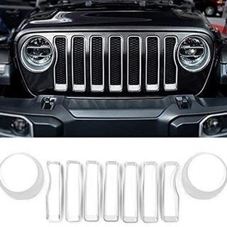 ジープ(Jeep)のJeepラングラー グリルインサート・ヘッドライトカバーJL シルバー(車外アクセサリ)