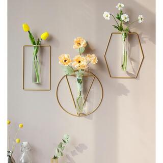 ザラホーム(ZARA HOME)の【六角形】ワイヤーフラワーベース 壁掛け花瓶 シンプル 韓国 春(花瓶)