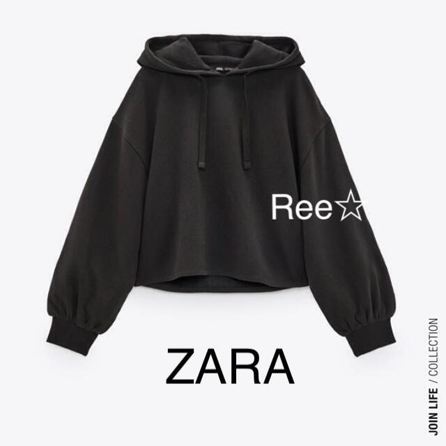 ZARA(ザラ)のZARA ショート丈フーディー ザラ パーカー スウェット レディースのトップス(パーカー)の商品写真