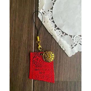 ハンドメイド ゴールド 赤 バッグチャーム ストラップ 時計 レトロ 本革(キーホルダー)