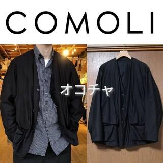 コモリ(COMOLI)の新品■21SS COMOLI コットンサテン ハンティングジャケット 3 黒(ノーカラージャケット)