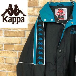 カッパ(Kappa)の♡カッパ♡kappa 中綿ナイロンジャケット 袖テープロゴ ゆるだぼ 黒(ナイロンジャケット)