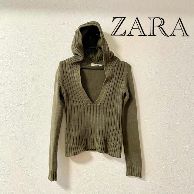 ZARA(ザラ)のZARA ニット フーディー パーカー レディースのトップス(パーカー)の商品写真