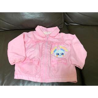 サンリオ(サンリオ)のアウター ウィンドブレーカー フワのワッペン付き ピンク色(ジャケット/上着)