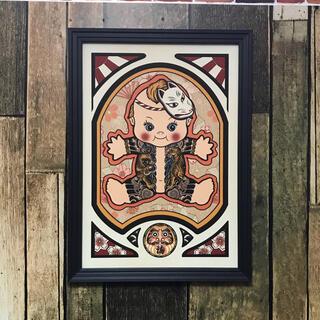 刺青画 和柄 黄色 福ダルマ 狐面 和彫り虎 A4サイズ フレーム付き(アート/写真)