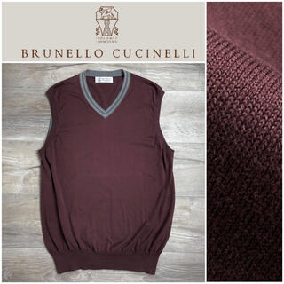 ブルネロクチネリ(BRUNELLO CUCINELLI)のA40 ブルネロクチネリ ベスト ニット コットン ボルドー 52(ベスト)