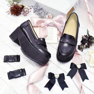リズリサ(LIZ LISA)のliz lisa 厚底リボンローファー 黒靴 Lサイズ 量産系 地雷系 やみかわ(ハイヒール/パンプス)