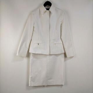 クラッセトップス38/スカート36セットアップホワイト無地 ステンカラー(スーツ)