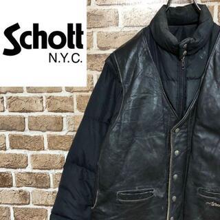 schott - ♡ショット♡USA製 2wayダウンジャケット ベスト レザー 黒