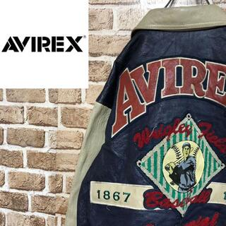 AVIREX - ♡アヴィレックス♡レザージャケット スタジャン ワッペン ビッグロゴ