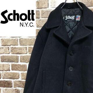ショット(schott)の♡ショット♡USA製 ウールPコートジャケット ビッグサイズ 黒 アウター(その他)