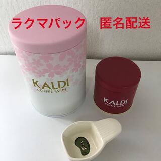カルディ(KALDI)のカルディ キャニスター缶(桜)  ミニキャニスター缶(赤)   メジャースプーン(容器)
