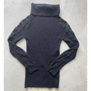 【韓国ファッション好きな方へ】透けレースハイネックニット(ニット/セーター)