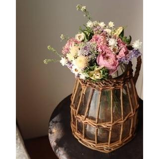 ふわっと可愛いパステルカラーのブーケ。花束。ドライフラワースワッグ。母の日ギフト(ドライフラワー)