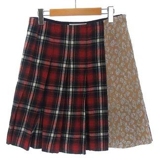 サカイラック(sacai luck)のサカイラック プリーツ ハーフ スカート フレア チェック 切替 レッド 赤 2(その他)