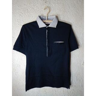 MONSIEUR NICOLE - o2356 ムッシュ ニコル 半袖 ポロシャツ 部分 ストライプ デザイン