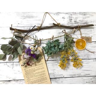 春の小花のスワッグとミモザ、ポポラスベリー、アジサイのガーランド (ドライフラワー)