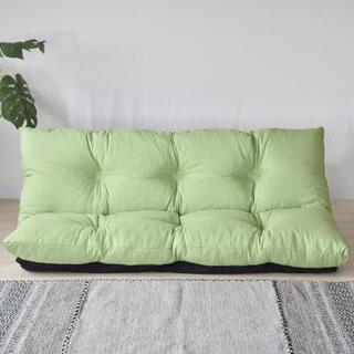 日本製ふかふかリクライニングローソファー 布張りグリーン色(ローソファ/フロアソファ)