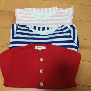 アンパサンド(ampersand)の80センチ女の子春服セット すずめさん交渉中(Tシャツ)
