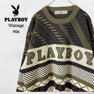プレイボーイ(PLAYBOY)のレア 90's プレイボーイSpell Out 3Dニット セーター古着(ニット/セーター)