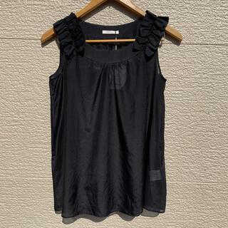 アベニールエトワール(Aveniretoile)の新品 Aveniretoile カットソー ノースリーブ 黒 ブラック 34(カットソー(半袖/袖なし))