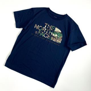 ザノースフェイス(THE NORTH FACE)の【美品】THE NORTH FACE 迷彩フロントロゴTシャツ(Tシャツ/カットソー(半袖/袖なし))