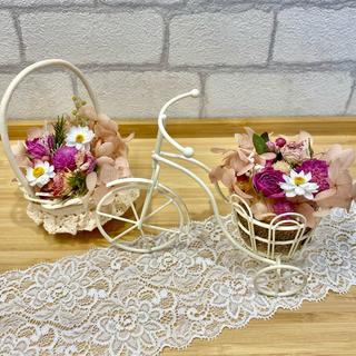 ドライフラワー インテリア2点セット❁¨̮ 花かご 三輪車 ピンク 薔薇 紫陽花(ドライフラワー)