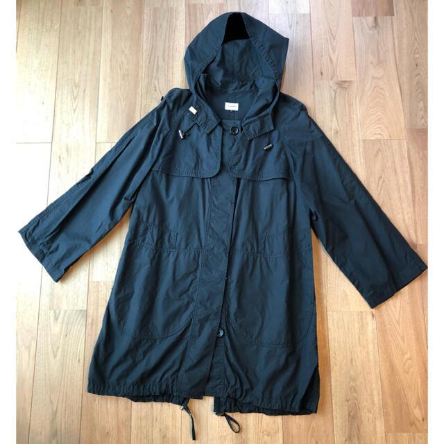 LE CIEL BLEU(ルシェルブルー)のルシェルブルー LE CIEL BLEU 黒 フード付コート ワンピース レディースのジャケット/アウター(トレンチコート)の商品写真