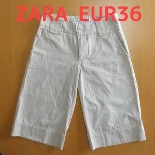 ザラ(ZARA)の【定番】ZARA Woman ワイドパンツ 膝丈 EUR36(ハーフパンツ)