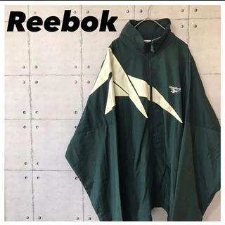 リーボック(Reebok)のReebokリーボック•ナイロンジャケット•90s•刺繍ロゴ•デカロゴ•深緑•L(ナイロンジャケット)