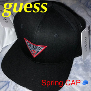 GUESS - 春用‼️丁度良い生地‼️希少デカロゴ立体刺繍  GUESS キャップ 白、黒