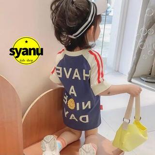 キッズ 切り返しアメカジバックロゴTシャツ 韓国子供服 男女兼用 夏物 (Tシャツ/カットソー)