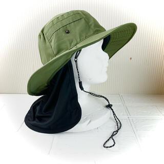 新品 サファリハット 帽子 ハット 男女兼用 ネックカバー付き 撥水 日差し対策(ウエア)