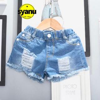 キッズ デニムフリンジダメージショートパンツ シンプルパンツ 韓国子供服(パンツ/スパッツ)