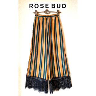 ローズバッド(ROSE BUD)のROSEBUD 裾レースストライプワイドパンツ(カジュアルパンツ)