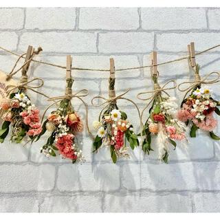 ドライフラワー スワッグ ガーランド❁177ピンクオレンジ薔薇スターチス花束♪(ドライフラワー)