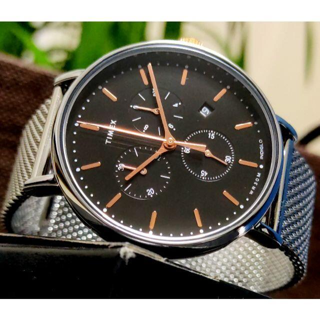 TIMEX(タイメックス)のタイメックス Fairfield ブラック×シルバー INDIGLO ラスト1! メンズの時計(腕時計(アナログ))の商品写真