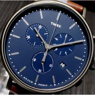 タイメックス(TIMEX)のタイメックス Fairfield ネイビー×ブラウン INDIGLO ラスト1!(腕時計(アナログ))