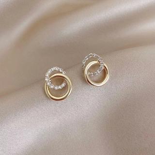 アーカー(AHKAH)のdouble ring zirconia pierce ◯s925 post (ピアス)
