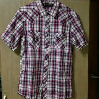 シマムラ(しまむら)のしまむら メンズ チェック柄 シャツ 半袖 ピンク(シャツ)