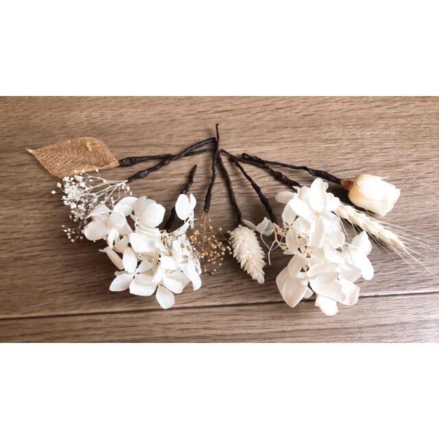 花飾りドライフラワー  ホワイト ハンドメイドのフラワー/ガーデン(ドライフラワー)の商品写真