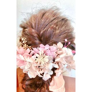 ドライフラワー花飾り  ピンク(ドライフラワー)