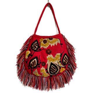 アンティックバティック(Antik batik)のANTIK BATIK アンティックバティック バッグ ニットフリンジ 刺繍 柄(ハンドバッグ)