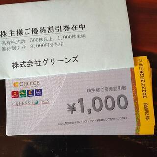グリーンズ 株主優待券 8000円分(1000円券×8枚) 2022年2月28日(その他)