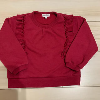 サンカンシオン(3can4on)のサンカンシオン  フリル トレーナー  赤 100(Tシャツ/カットソー)