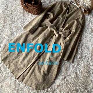 エンフォルド(ENFOLD)のENFOLDエンフォルド19SSコットンリネンノーカラーコート ペーパーコート(ロングコート)