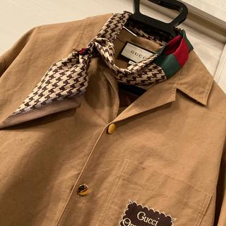 グッチ(Gucci)のGUCCI スカーフ ネックボウ ミッツァスカーフ 千鳥柄 ブラウン(バンダナ/スカーフ)