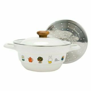 フジホーロー(富士ホーロー)のミッフィー エナメルウェア 24cm 両手鍋 スノコ付 ホーロー鍋(鍋/フライパン)